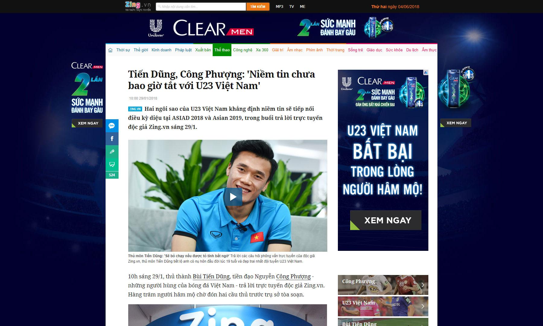Clear Việt Nam là thương hiệu tạo dấu ấn khi gắn mình với sự kiện bất ngờ U23.