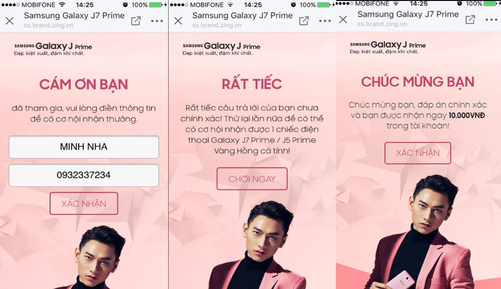 Thu hút người dùng quan tâm Samsung OA, chơi game tương tác và nhập thông tin để nhận quà hấp dẫn