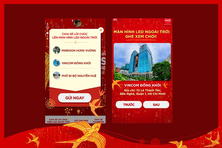 Người dùng chọn chia sẻ lời chúc lên mạng xã hội và màn hình LED ngoài thời để nhận tiền lì xì từ Coca Cola.