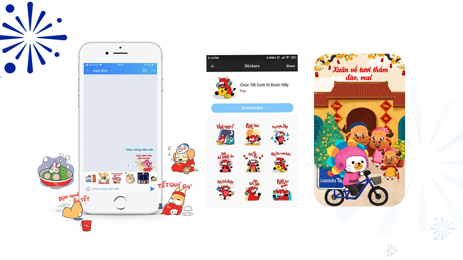 Sticker Tết – giúp nhãn hàng đi vào hội thoại của người dùng một cách tự nhiên
