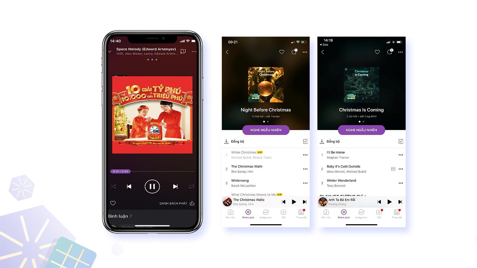 Banner ad và sponsored playlist trên Zing Mp3
